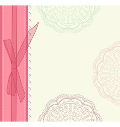 Vintage pink wedding card vector image