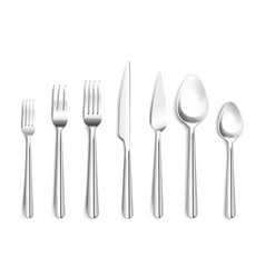 Realistic silverware top view vector