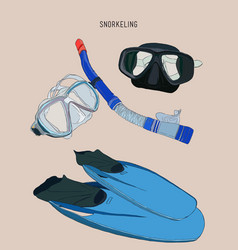 Snorkeling equipment fin diving mask with tube vector