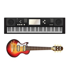 Electric guitar and synthesizer vector