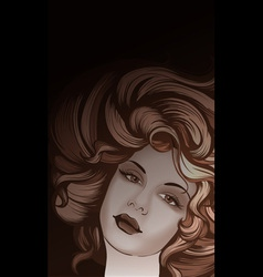 Retro style woman portrait vector