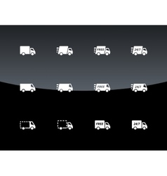 Commercial van icons on black background vector