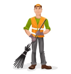 Janitor with a broom vector