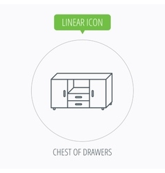 Chest of drawers icon interior commode sign vector