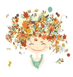 Female portrait with autumn hairstyle for your vector