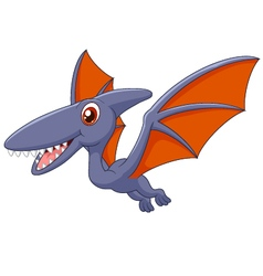 Cute pterodactyl cartoon vector