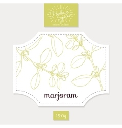 Product sticker with hand drawn marjoram leaves vector
