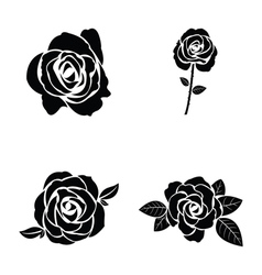 Black silhouette of rose set vector image