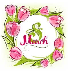 Greeting card 8 march vector