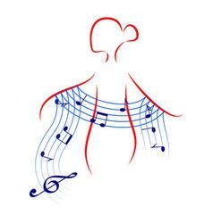 Beautiful young woman with music shawl vector