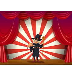 A stage with a scary witch in the middle vector image vector image