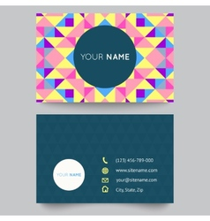 Business card template abstract colorful geometric vector image vector image