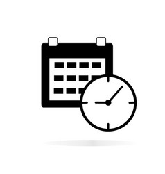 Calendar clock icon on white background calendar vector