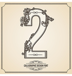 Calligraphic font Number 2 vector image