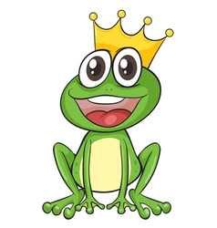 Cartoon King Frog vector image vector image