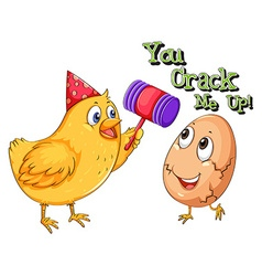 Chicken cracking an egg vector