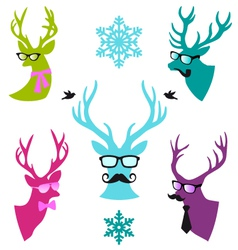 Christmas deer heads set vector image vector image