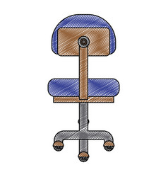 Color crayon stripe silhouette of office chair vector