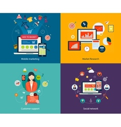 Customer support and social network vector image vector image