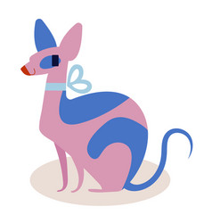 Cute pink and blue cartoon cat sphinx with a bow vector