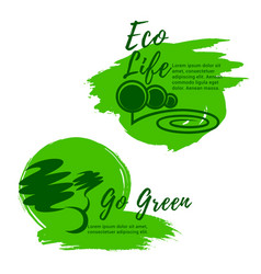 Eco life and green environment icons vector