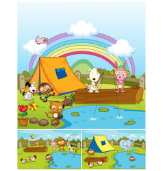 farm animals playing in the park vector image
