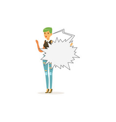 fashion young woman character standing with empty vector image vector image