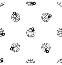 globe with pin pattern seamless black vector image vector image