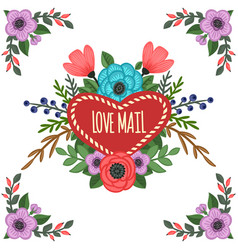 heart-shaped frame with ornament vector image vector image