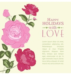 Invitation with roses vector