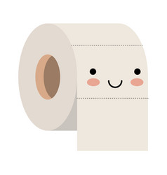 kawaii toilet paper roll in colorful silhouette vector image vector image
