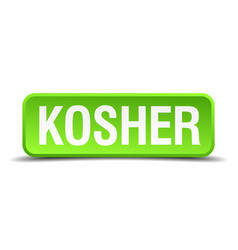 Kosher green 3d realistic square isolated button vector