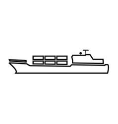 Merchant ship black color icon vector