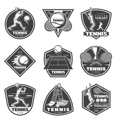 monochrome vintage tennis labels set vector image