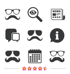 Mustache and glasses icons hipster symbols vector