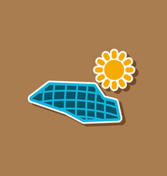 paper sticker on stylish background of solar vector image vector image
