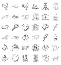 parrot icons set outline style vector image vector image