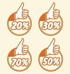 popust thumbs up3 vector image