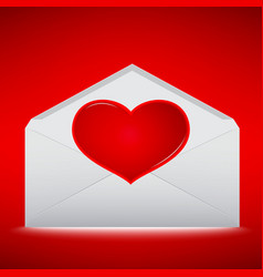 Red heart on envelope with red background vector