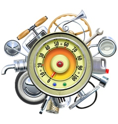 Retro Car Parts with Speedometer vector image