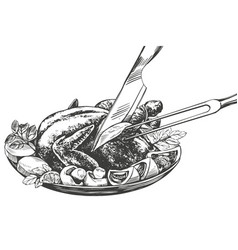 Roasted turkey chickenwith ingredients hand vector