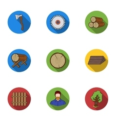 Sawmil and timber set icons in flat style big vector