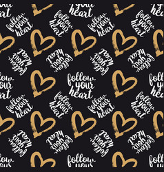 seamless pattern from hearts on black vector image