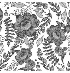 seamless pattern with flowers leaves and vector image vector image