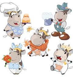 Set of cartoon cute cow vector