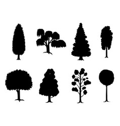 set of various stylized trees in silhouette vector image