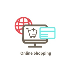 shopping online with icon vector image