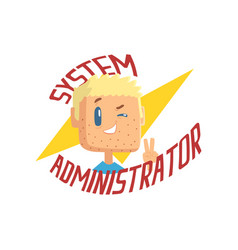 System administrator computer and technical vector