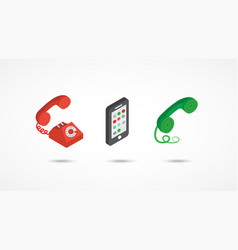 telephone isometric icons 3d colorful vector image