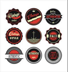 Vintage labels black and red set 1 vector